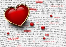 Le fond blanc de jour de valentines avec le coeur rouge brillant dans le cadre d'or et les perles en verre sur le journal abstrai Image stock