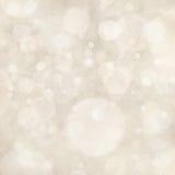 Le fond blanc s'allume, des formes de cercle de bokeh posées comme la neige en baisse en ciel, conception de fond de bulle Image stock