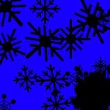 Le fond bleu de flocons de neige signifie froid congelé et la chute de neige Photographie stock libre de droits