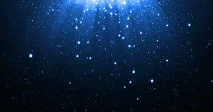 Le fond bleu de particules de scintillement avec les étoiles brillantes de néon tombant vers le bas et la fusée légère ou l'éclat illustration de vecteur