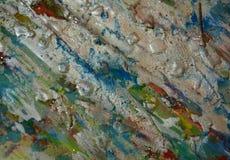 Le fond boueux de scintillement vert-bleu argenté de cire, peinture cireuse boueuse de scintillement, contraste forme le fond dan Photo libre de droits