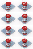 le fond boutonne le blanc réglé de rouge illustration stock