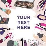 Le fond, cadre avec des produits de cosmétiques de maquillage et charge Photos stock