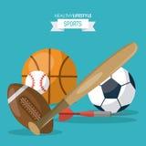 Le fond coloré du mode de vie sain folâtre avec des boules de base-ball et de dard du football du football de basket-ball Illustration de Vecteur