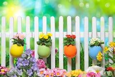 le fond a coloré le vecteur rouge de tulipe de format des oeufs de pâques eps8 Images stock