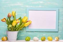 le fond a coloré le vecteur rouge de tulipe de format des oeufs de pâques eps8 Photographie stock