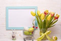le fond a coloré le vecteur rouge de tulipe de format des oeufs de pâques eps8 Photo libre de droits
