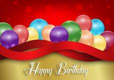 Le fond d'anniversaire avec la couleur monte en ballon sur le fond rouge de bokeh illustration stock