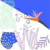 Le fond d'art de Colorfull avec les éléments floraux dirigent l'illustration illustration de vecteur