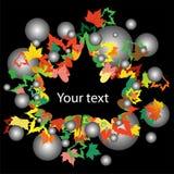 Le fond d'automne avec l'érable coloré part sur le noir Photographie stock
