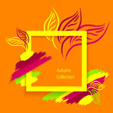 Le fond d'Autumn Abstract de tendance fait à la main dessinent des feuilles de brosses sur l'orange Image libre de droits