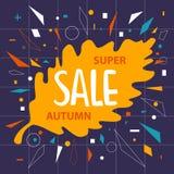 Le fond de bannière de vente de feuille de chêne de chute d'automne avec les confettis géométriques forme Photos stock