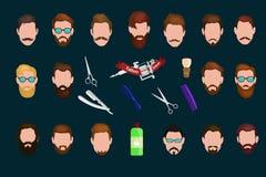 Le fond de Barber Shop ou de coiffeur a placé avec des ciseaux de coiffure, brosse de rasage, le rasoir, peigne pour le vecteur d Photos stock