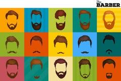 Le fond de Barber Shop ou de coiffeur a placé avec des ciseaux de coiffure, brosse de rasage, le rasoir, peigne pour le vecteur d Photographie stock libre de droits