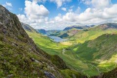 Le fond de Buttermere et de Warnscale du rocher vert Photos libres de droits