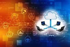 Le fond de concept de Cloud Computing, 3d rendent illustration libre de droits