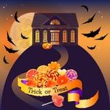 Le fond de Halloween avec la maison, les bonbons et les mots dupent le festin Image libre de droits