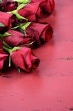 Le fond de jour de valentines avec les roses rouges clôturent - la verticale Images libres de droits