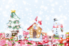 Le fond de Joyeux Noël et numéro 2017 t Photos libres de droits