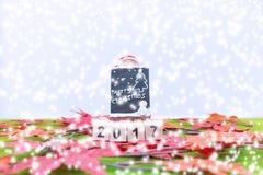 Le fond de Joyeux Noël et numéro 2017 t Photographie stock libre de droits