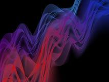 le fond de la fractale 3d en rouge et le bleu ondule Photos stock