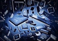 Le fond de la puce micro et les nouvelles technologies avec la tache s'allument Image stock