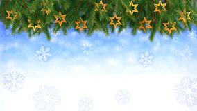Le fond de Noël - des brindilles et des étoiles avec les flocons de neige en baisse - 3D rendent Boucle sans couture banque de vidéos