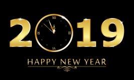 Le fond de noir de nouvelle année du vecteur 2019 avec des confettis de scintillement d'or éclaboussent la texture illustration de vecteur