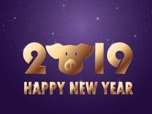 Le fond de noir de nouvelle année du vecteur 2019 avec des confettis de scintillement d'or éclaboussent la texture Calibre de la  illustration stock