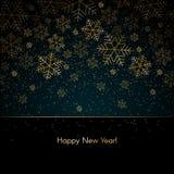 Le fond de nouvelle année de Noël avec des flocons de neige d'or textotent Noël bleu de fond d'hiver de bonne année, modèle de no illustration libre de droits