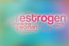 Le fond de nuage de mot de concept d'oestrogène sur le bleu a brouillé le backgroun Photographie stock libre de droits