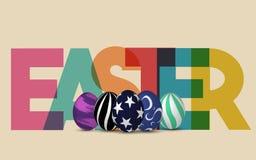 Le fond de Pâques avec les oeufs décorés réalistes et colorés heureux multiplient le texte Conception à la mode de carte de voeux illustration de vecteur