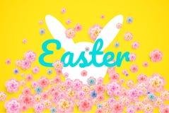 Le fond de Pâques avec les oreilles et le ressort de lapin fleurit la carte moderne illustration de vecteur