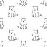 Le fond de papier peint de griffonnage de chaton de vecteur de Cat Seamless Pattern a isolé le blanc Image stock