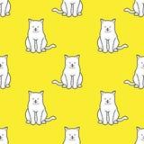 Le fond de papier peint de griffonnage de sourire de chaton de sommeil de vecteur de Cat Seamless Pattern a isolé le jaune Photographie stock libre de droits