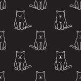 Le fond de papier peint de griffonnage de sourire de chaton de vecteur de Cat Seamless Pattern a isolé le noir illustration stock