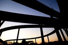 Le fond de silhouette de la route Photos libres de droits