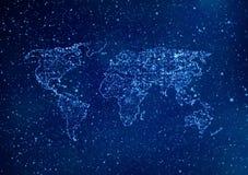 Le fond de technologie d'Internet de la carte du monde, 3d rendent l'illustrat illustration libre de droits