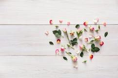 Le fond de Valentine avec la rose de rose fleurit le coeur, l'espace de copie sur le bois rustique blanc Photo libre de droits