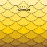 Le fond de vecteur avec le papier jaune de couleur de gradient a coupé des formes illustration de vecteur