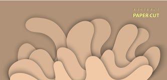Le fond de vecteur avec le papier de l'eau d'éclaboussure a coupé des formes dans la couleur beige r illustration stock