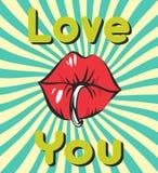 Le fond de vintage de jour de valentines avec les lèvres piercing sexy, bubble-gum, rétros rayons et vous aiment lettrage Photos stock