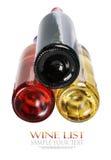 Le fond des bouteilles de vin de différentes sortes Image stock