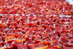 Le fond des tomates rouges découpe le séchage en tranches à la lumière du soleil Photos libres de droits