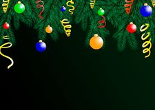 Le fond des vacances avec les souhaits de saison et la frontière des branches d'arbre de regard réalistes de Noël décorées illustration de vecteur