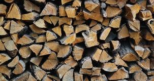 Le fond du bois de chauffage coupé sec ouvre une session une pile Images libres de droits