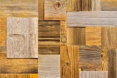 Le fond en bois décoratif, ensemble des tuiles en bois de rectangle écologique différent, brunissent la planche âgée, couleur nat Photos stock