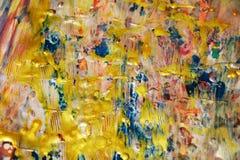 Le fond en pastel bleu vif d'or, bleu a brouillé le fond abstrait cireux, fond vif d'aquarelle, texture images libres de droits