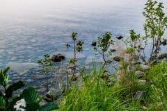 Le fond en pierre d'un lac par une eau transparente d'un lac Uveldy photos stock