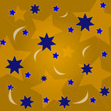 Le fond est des étoiles d'or et des points colorés Images stock